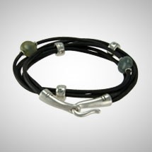 Silver, Labradorite and Black Leather Double Wrap