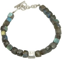 Square Facetted Labradorite Beads with Silver Hallmark Square Adjustable Bracelet