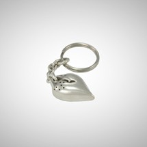 Large Silver Puffy Heart Key Ring
