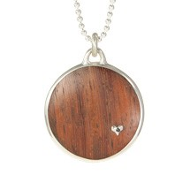 Reclaimed Wood Round Pendant in Machiche with Tiny Heart & 1 Black Diamond in Sterling Setting