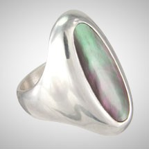 Black Long Oval Mother of Pearl Signet Ring