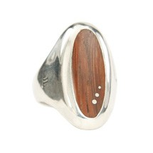 Reclaimed Wood Long Oval Machiche Signet Ring