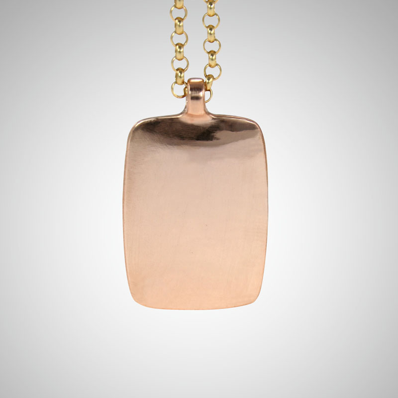 Large Rose Gold Dog Tag on Gold Rolo Chain (sold separately)