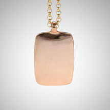 Large Rose Gold Dog Tag on Gold Rolo Chain