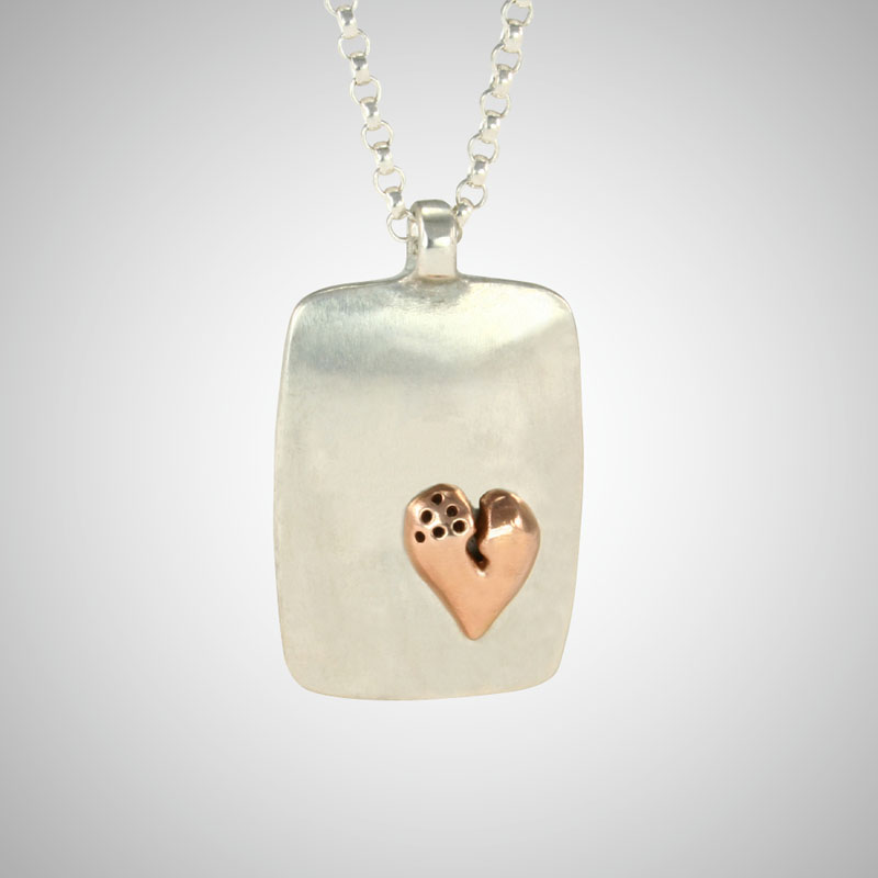 Large Silver Dog Tag Featuring Small Rose Gold Signature Heart on Rolo Chain