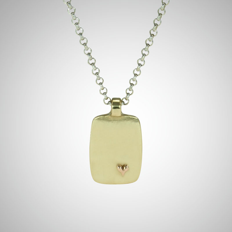Medium Yellow Gold Dog Tag Featuring Tiny Rose Gold Heart