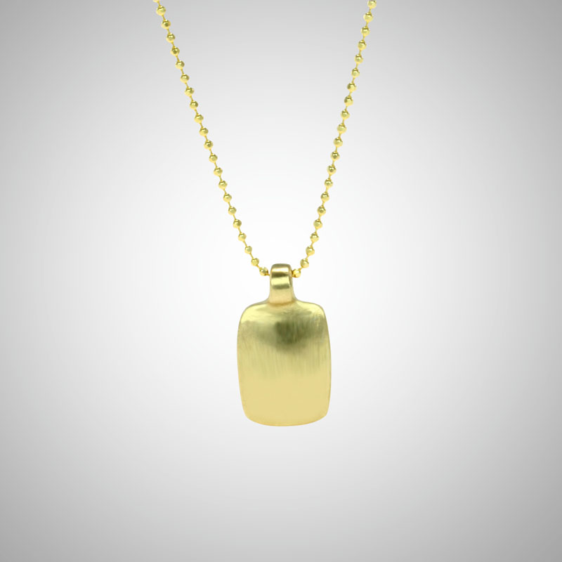 Small Yellow Gold Dog Tag