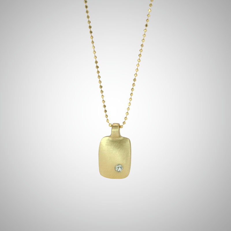 Small Yellow Gold Dog Tag with White Diamond