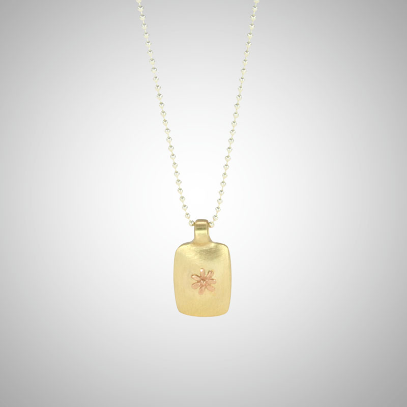 Small Yellow Gold Dog Tag Featuring Rose Gold Tiny Flower