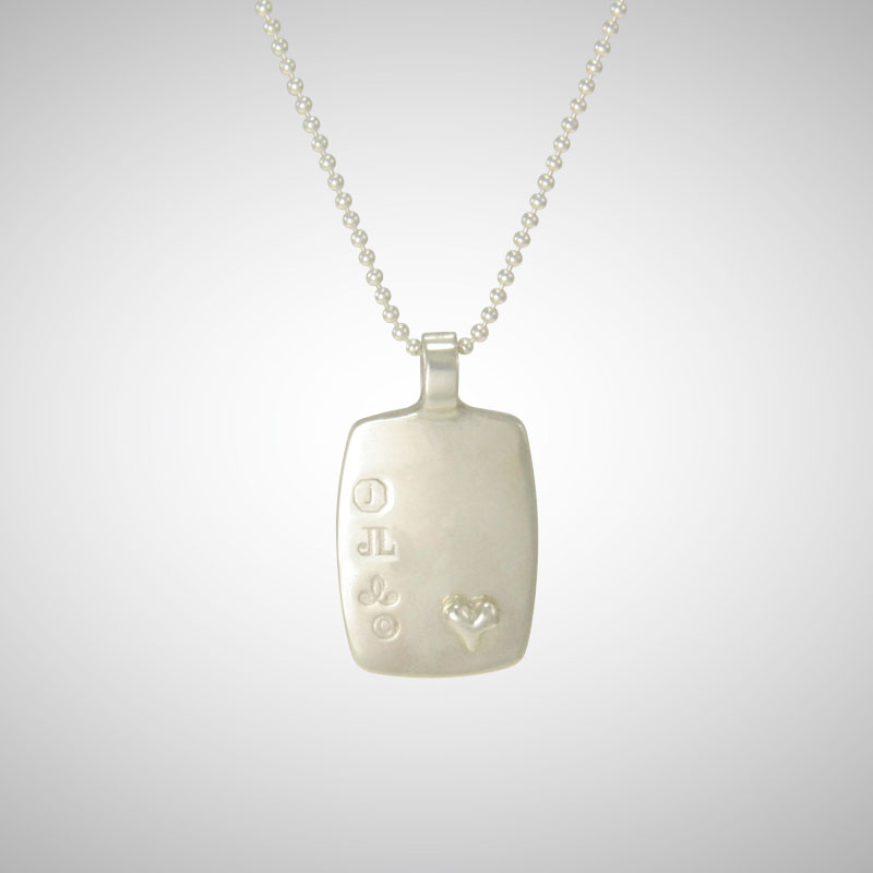 No 4 Silver Dog Tag Featuring Tiny Silver Heart Charm