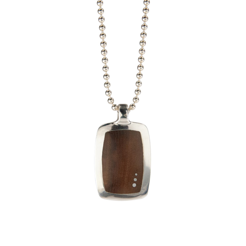 Reclaimed Wood Medium Dog Tag in Pistachio with 3 Inlaid Silver Dots in Silver Setting