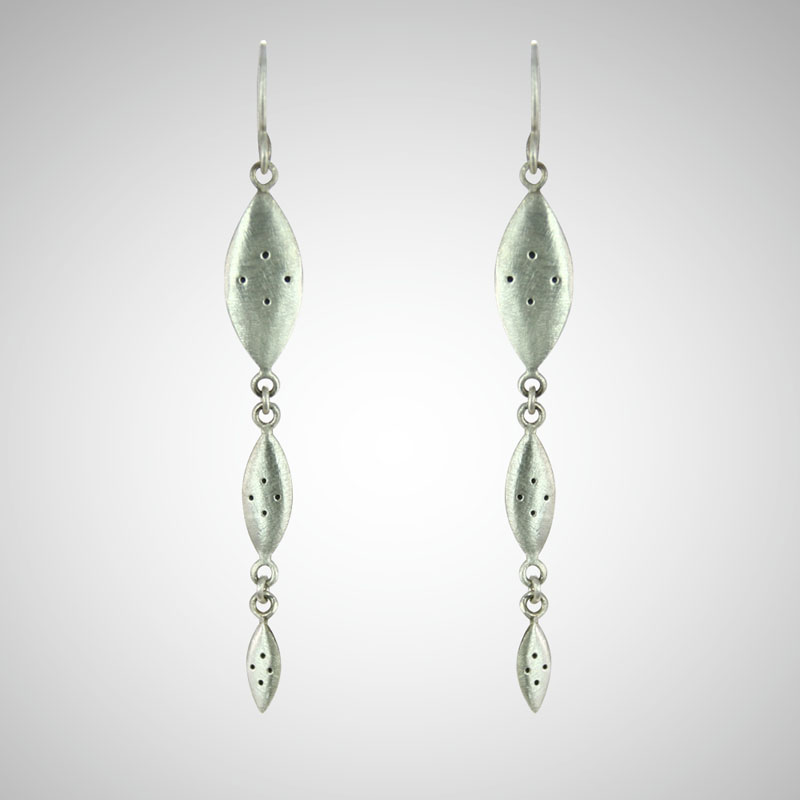 Silver Triple Shield Drop Earrings