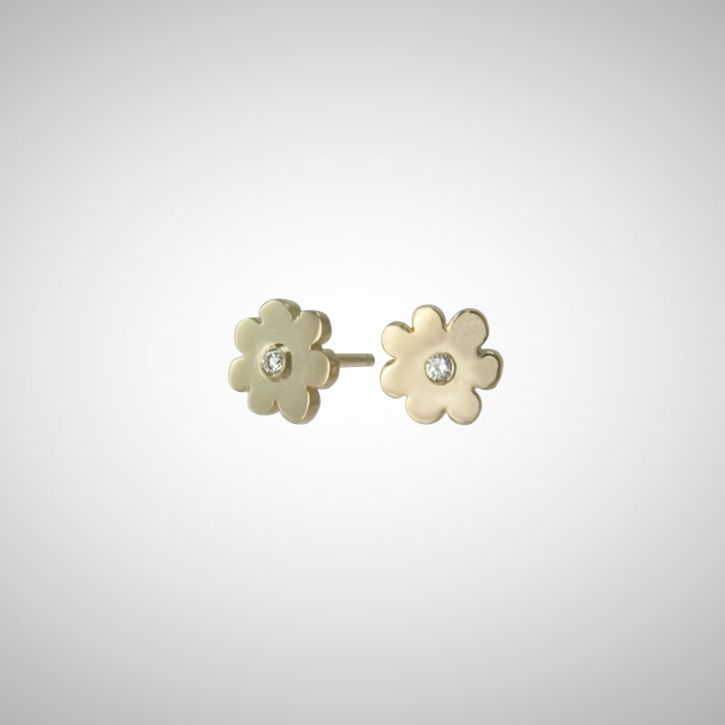 Yellow Gold Daisy Posts with Diamonds
