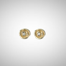 Yellow Gold Rosette Posts with Diamonds