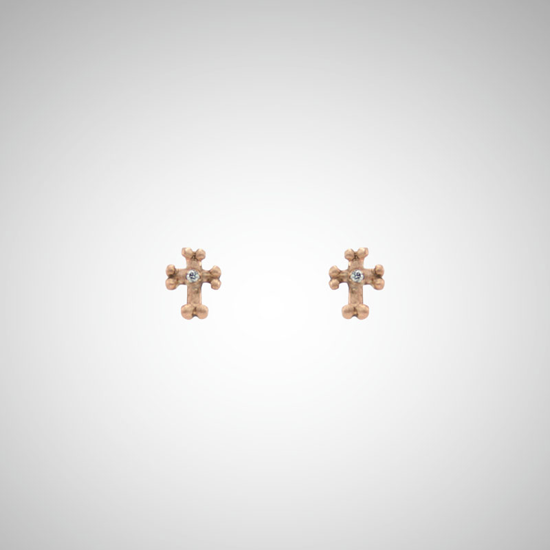 Tiny Rose Gold Goth Cross Post Earrings with White Diamonds