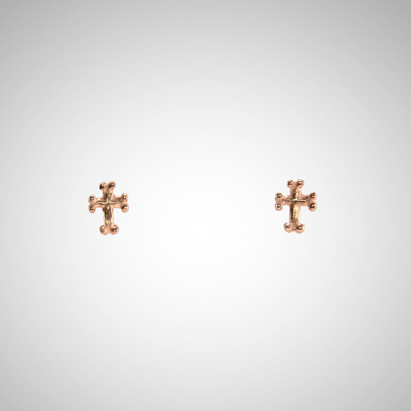 Tiny Rose Gold Goth Cross Post Earrings