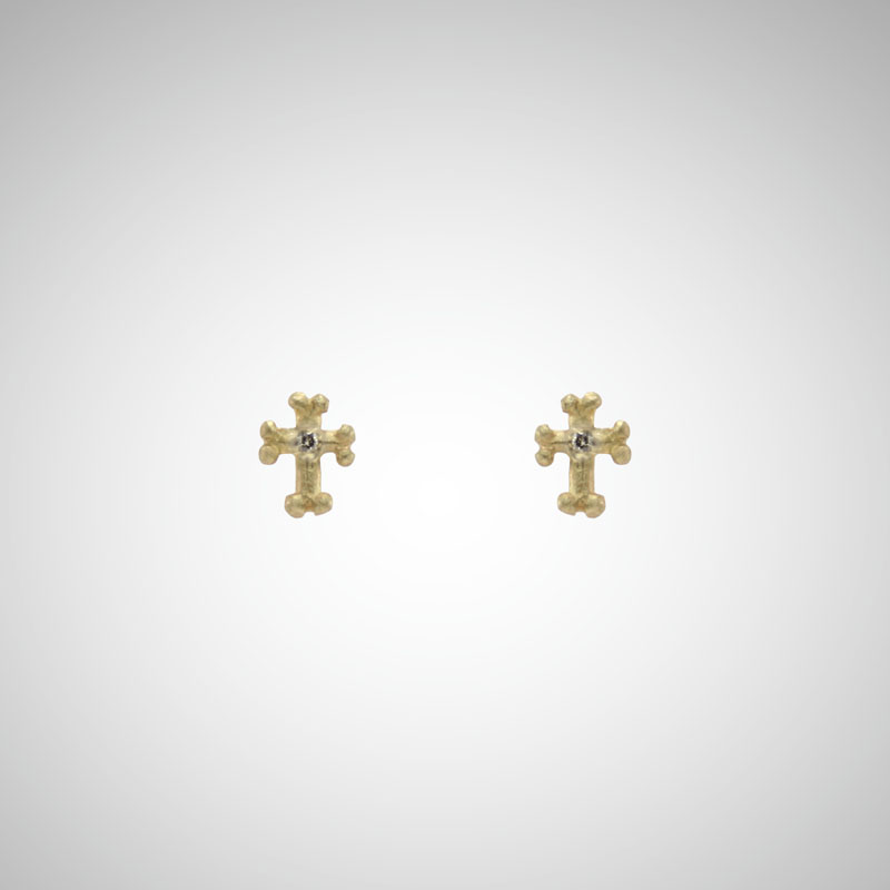 Tiny Yellow Gold Goth Cross Post Earrings with Cognac Diamonds