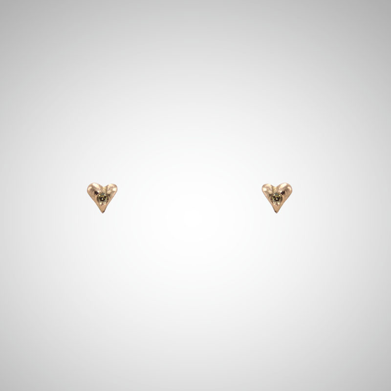 Tiny Rose Gold Heart Post Earrings with Cognac Diamonds