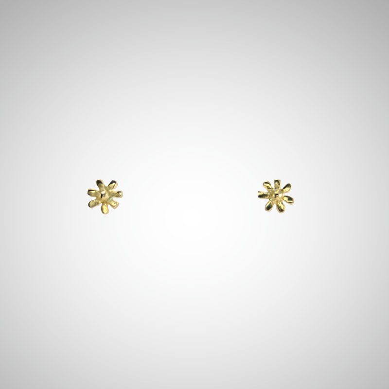 Tiny Yellow Gold Flower Post Earrings