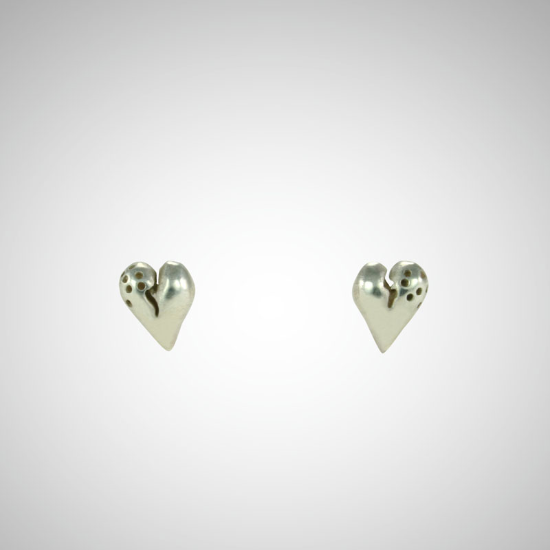 Puffy Silver Heart Earrings