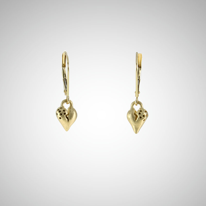 Puffy Yellow Gold Heart Drop Earrings