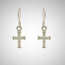 Small Silver Holy Cross Earrings with White Diamonds