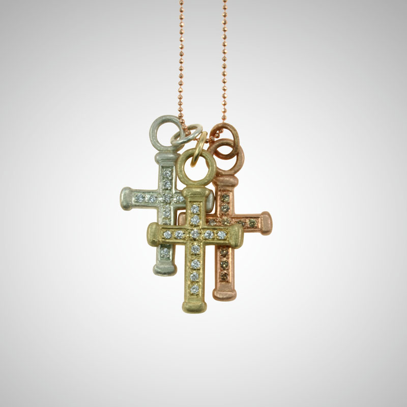Medium Yellow Gold Holy Cross with White Diamonds