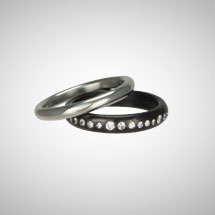 Custom Wedding Rings in Platinum and Oxidized Silver Eternity Band