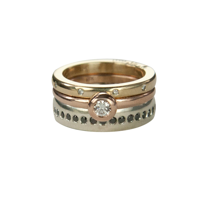 Custom Rose and Yellow Gold and Silver Stacking Rings