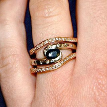 Custom Engagement Ring in White Gold, Sapphire and Diamonds with Yellow Gold and Diamond Wedding Bands