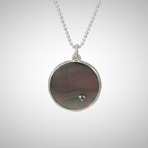 Black Round Mother of Pearl Pendant with Tiny Heart and Black Diamond
