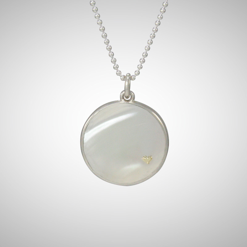 White Round Mother of Pearl Pendant with 14K Yellow Gold Tiny Heart