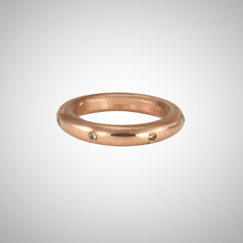 Thick Rose Gold Stackable Ring with Cognac Diamonds