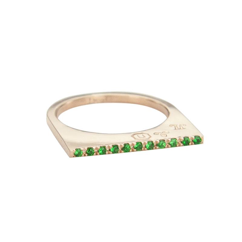 Super Flat Skinny Rose Gold Ring with 11 Tsavorite