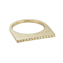 Super Flat Skinny Yellow Gold Ring with 13 White Diamonds