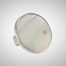 White Round Mother of Pearl Ring with Tiny Heart