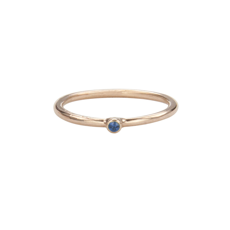 Super Skinny Rose Gold Ring with a Blue Sapphire