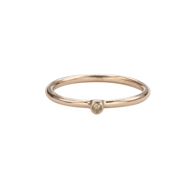 Super Skinny Rose Gold Ring with a Cognac Diamond