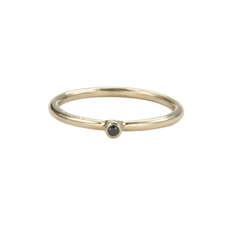 Super Skinny Yellow Gold Ring with a Black Diamond