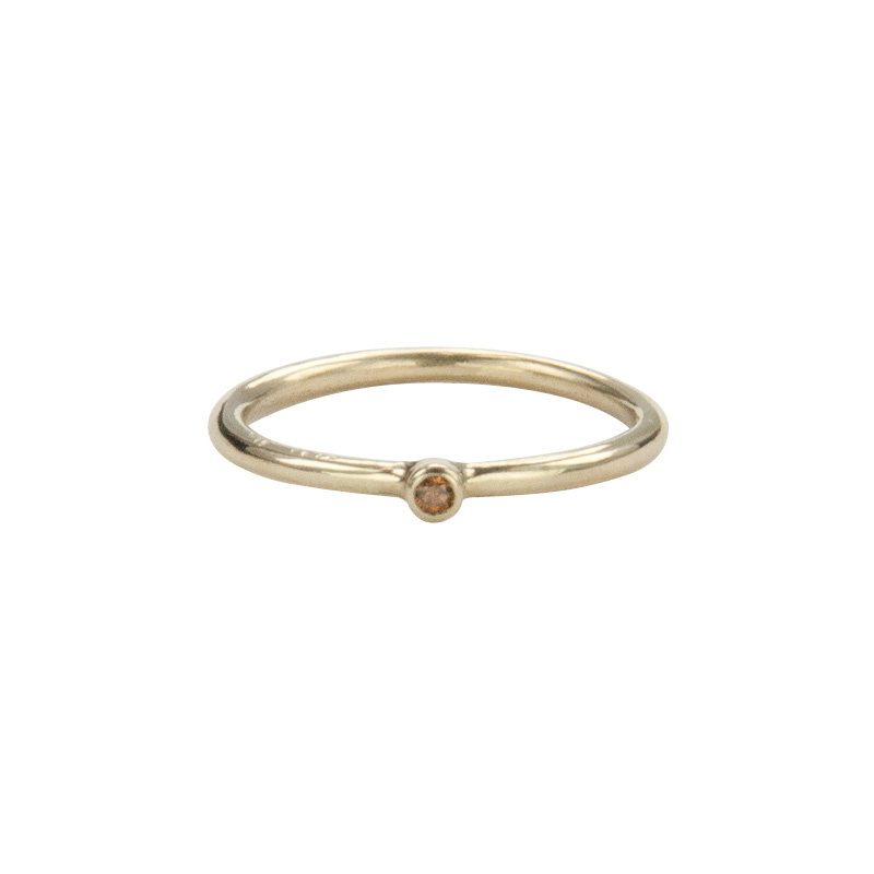Super Skinny Yellow Gold Ring with a Cognac Diamond