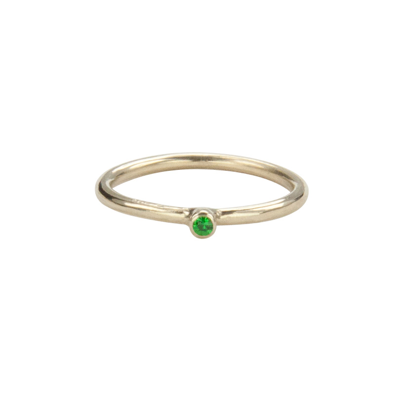 Super Skinny Yellow Gold Ring with a Tsavorite