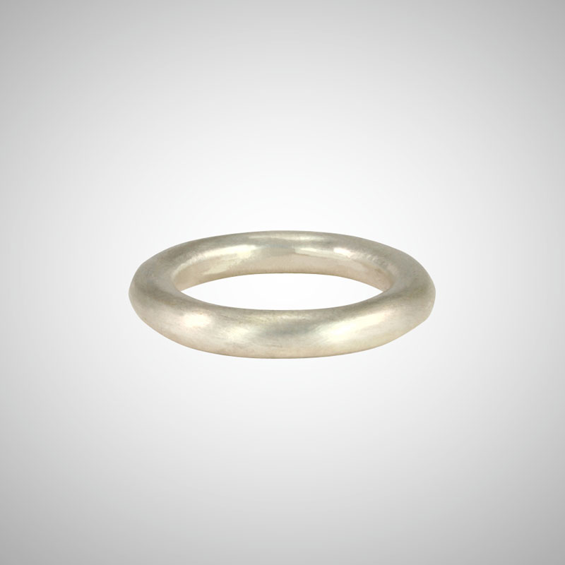 Thick Matte Silver Stackable Ring