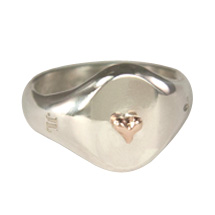 Silver Medium Signet Ring with Rose Gold Tiny Heart