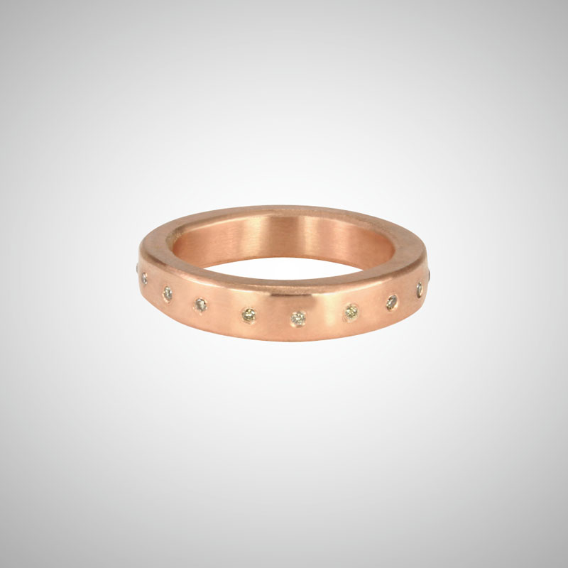 Medium Wide Rose Gold Band with Cognac Diamonds