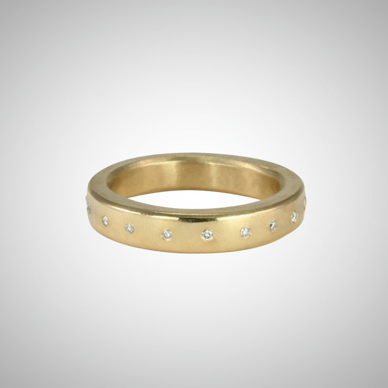 Medium Wide Yellow Gold Band with White Diamonds