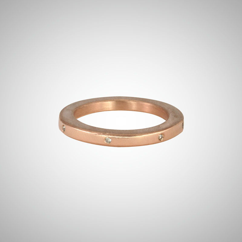 Narrow Rose Gold Band with Cognac Diamonds