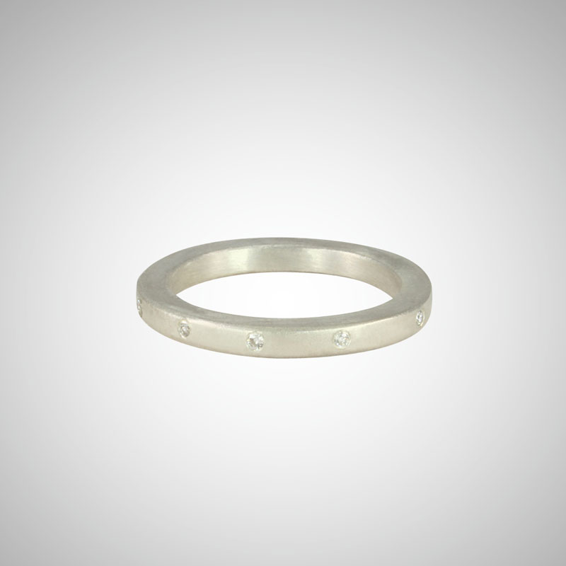 Narrow Silver Band with White Diamonds