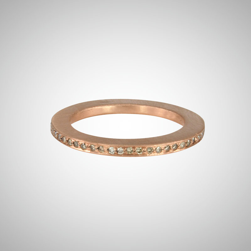 Skinny Rose Gold Pave Eternity Band with Cognac Diamonds