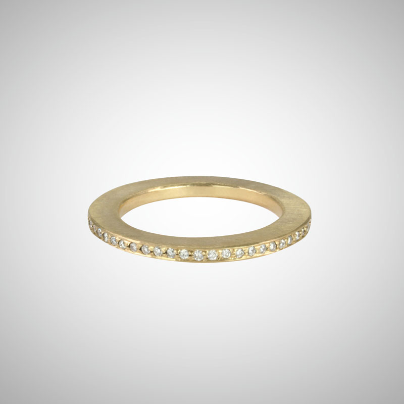 Skinny Yellow Gold Pave Eternity Band with White Diamonds
