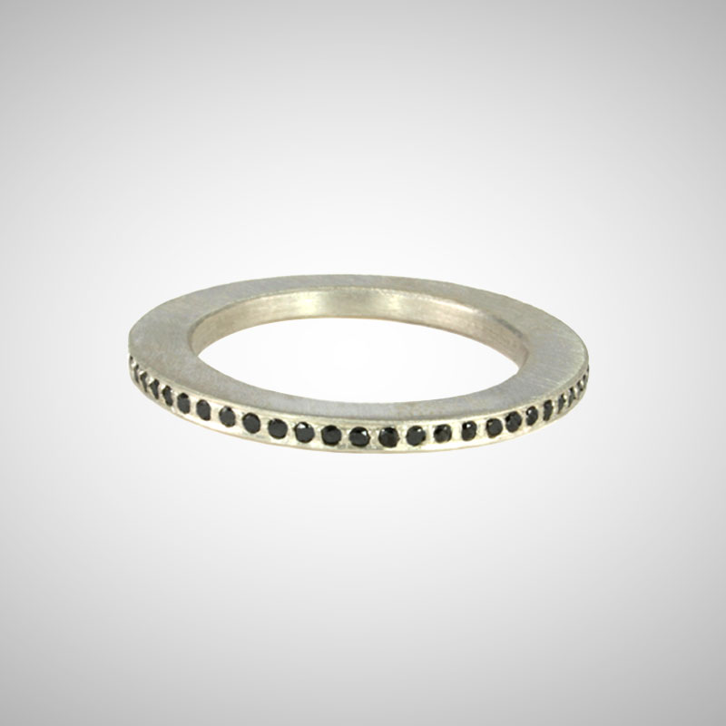 Skinny Silver Pave Eternity Band with Black Diamonds